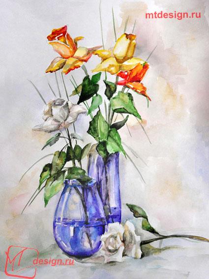 Цветы и листья можно