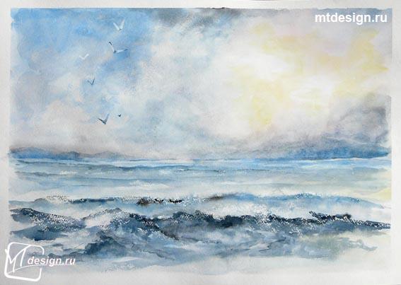 Рисунки акварелью море поэтапно